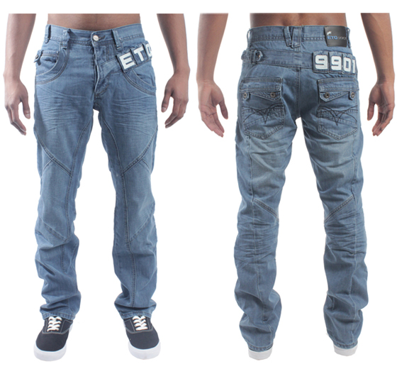 NEW-MENS-DESIGNER-BRANDED-ETO-LIGHT-STONEWASH-STRAIGHT-JEANS-EM227-BNWT-28-TO-42