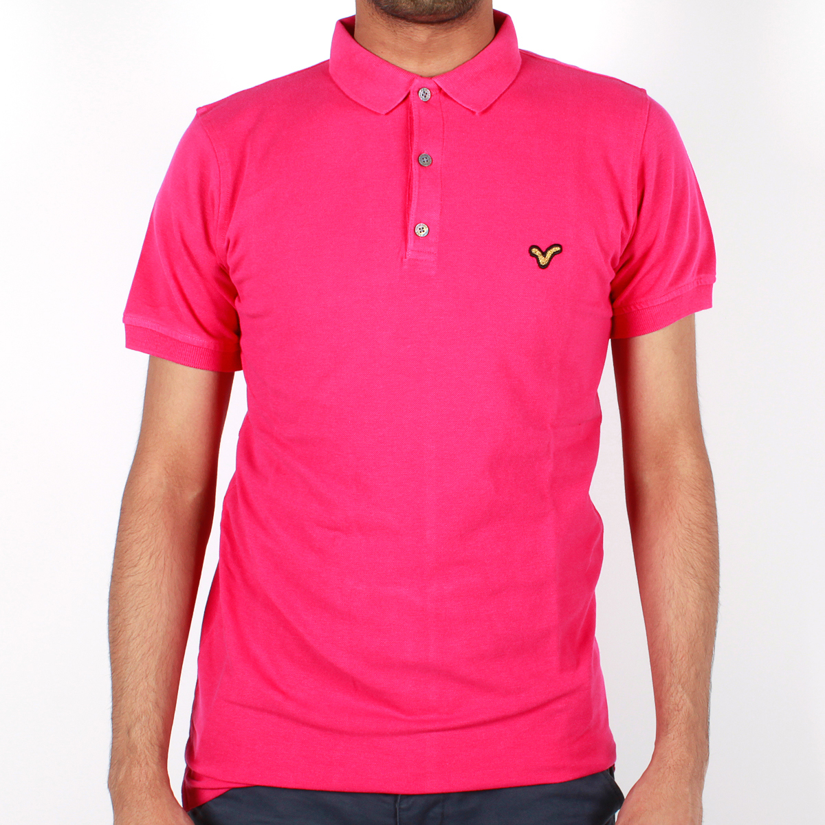 New-Mens-Voi-Jeans-Enzo-Short-Sleeve-Ribbed-Polo-Fuchsia-Free-P-P-DD